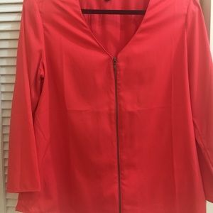Rich bright coral 3/4 sleeve zippered blouse